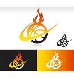 Fire swoosh basketball logo icon vector