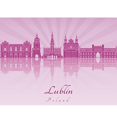 Lublin skyline in purple radiant orchid vector image vector image
