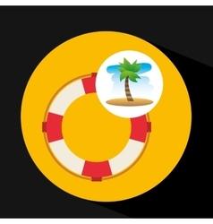 Tropical vacation beach life buoy icon vector