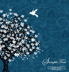 Blue tree silhouette vector
