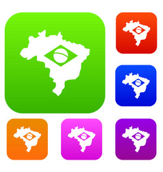 brazil map with flag set color collection vector image vector image