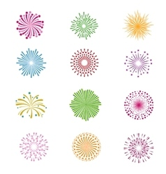 Color holiday party festival firework icons vector image