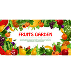 fruit and berry frame with leaf poster design vector image vector image