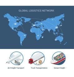 Global logistics network Flat 3d isometric vector image vector image
