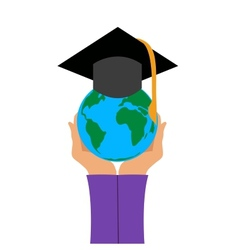 Graduation cap in hand vector image vector image