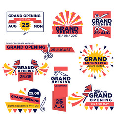 grand opening event icons set for shop or vector image