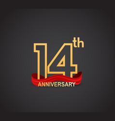 14 anniversary logotype design with line golden vector