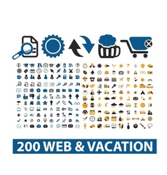 20 web vacation icons set vector image