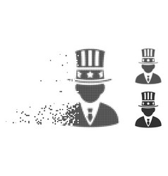 American capitalist damaged pixel halftone icon vector