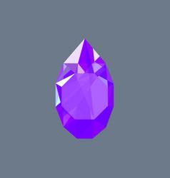 Amethyst gem shining logo drop shaped vector