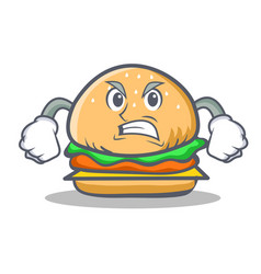 Angry burger character fast food vector