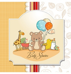 baby shower card with toys vector image vector image