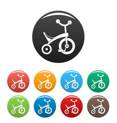 baby tricycle icons set color vector image