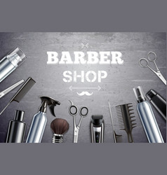 Barber shop realistic background vector