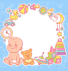 bashower design template baboy with toy vector image