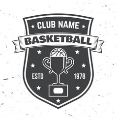 basketball sport club badge vector image