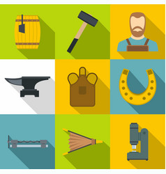 blacksmith equipment icons set flat style vector image