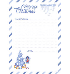 Blank template with lines for santa claus letter vector