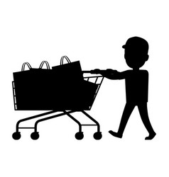 Boy with cart silhouette shopping collection vector
