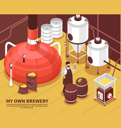 Brewery owner isometric poster vector
