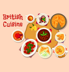 British cuisine lunch dishes icon design vector
