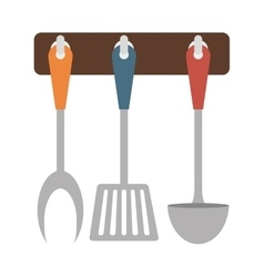 Brown rack utensils kitchen icon vector