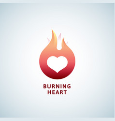 burning heart abstract sign symbol or logo vector image