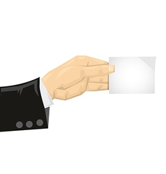 Business man holding card vector