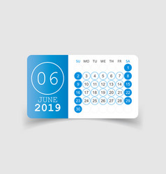 Calendar june 2019 year in paper sticker with vector