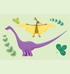 Cartoon dinosaur pterodactyl diplodocus vector