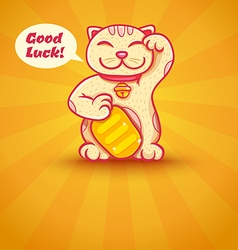 Cat lucky yellow vector