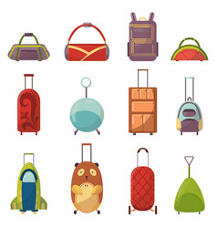 childish cute bag types for trips collection vector image