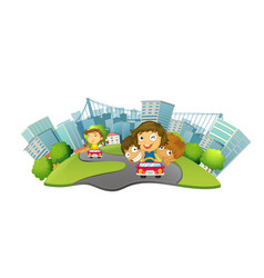 Children riding cars in the city park vector