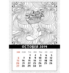 christmas sock with gifts calendar october 2019 vector image
