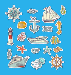 Colorful sketched sea elements stickers vector