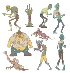 Creepy Zombies Outlined Drawings vector