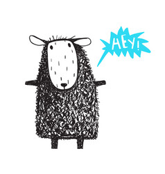 cute adorable sheep saying hey vector image