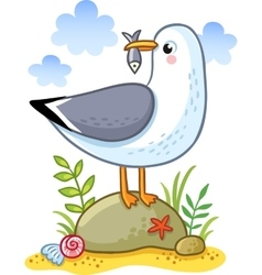 Cute cartoon seagull vector
