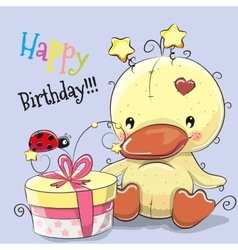Cute Duck with gift vector