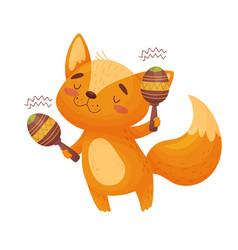 Cute fox with maracas on vector