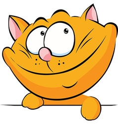 cute ginger cat peeking out on whit a background vector image