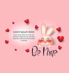 cute little rabbitred heart creative drawn hands vector image