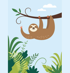 cute sloth hanging on branch tree vector image