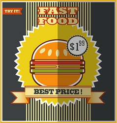 Fast food menu Hot Hamburger vector image