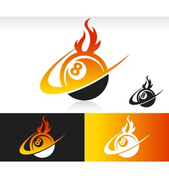 Fire Swoosh Eight Ball Logo Icon vector image