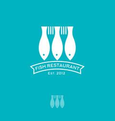 Fish and forks restaurant logo seafood emblem vector