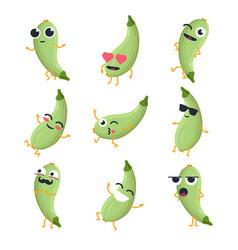 Funny zucchini - isolated cartoon emoticons vector