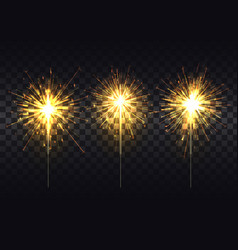 Golden sparklers on metal stick realistic set vector