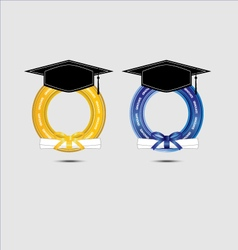 Graduating design with gold and blue vector image vector image