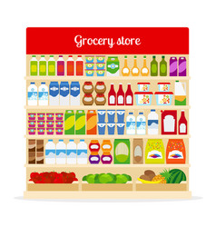 Grocery store shelves with food vector